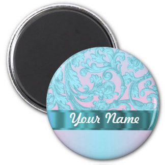 Pink & pale blue damask lace 2 inch round magnet
