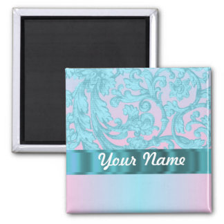 Pink & pale blue damask lace 2 inch square magnet
