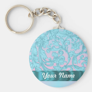 Pink & pale blue damask lace basic round button keychain