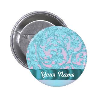 Pink & pale blue damask lace button