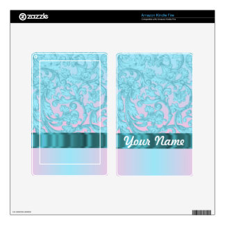 Pink & pale blue damask lace decal for kindle fire