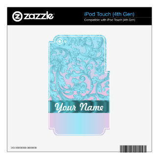 Pink & pale blue damask lace decals for iPod touch 4G