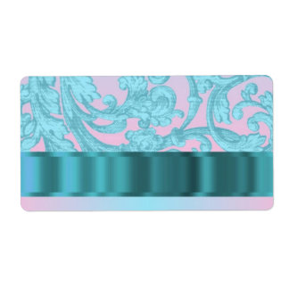 Pink & pale blue damask lace personalized shipping labels