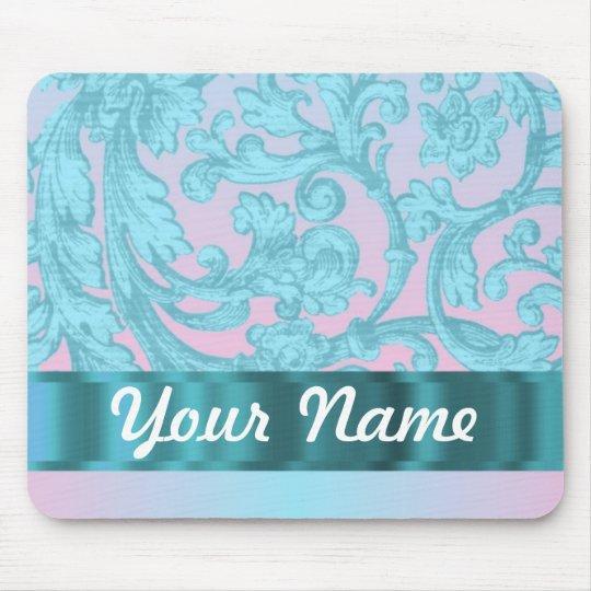 Pink & pale blue damask lace mouse pad