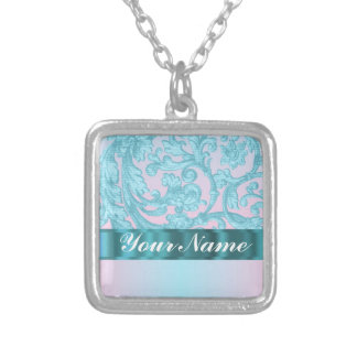 Pink & pale blue damask lace silver plated necklace