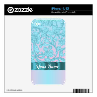 Pink & pale blue damask lace skin for iPhone 4S