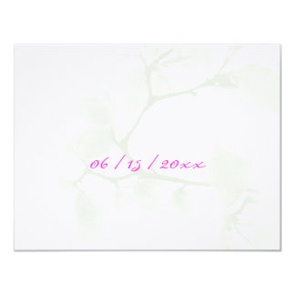 """Pink Pale Branches RSVP 4.25"""" X 5.5"""" Invitation Card"""