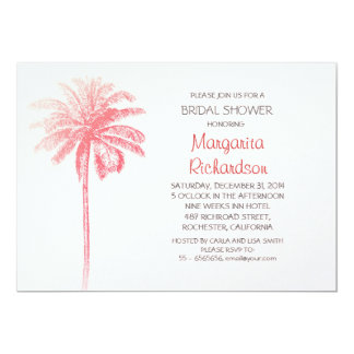 pink palm tree beach bridal shower invitations