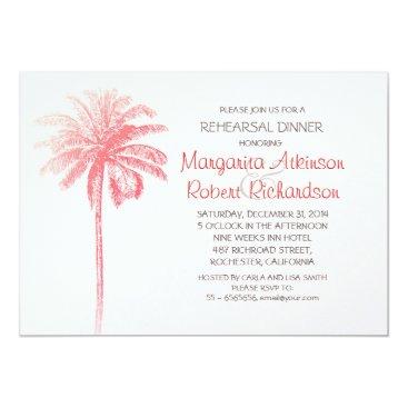 Beach Themed pink palm tree beach rehearsal dinner invitation