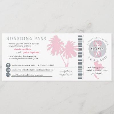Pink Palm Tree Boarding Pass to Thailand Wedding Invitation