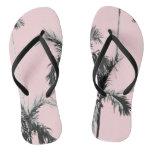Pink Palm Tree Flip Flops