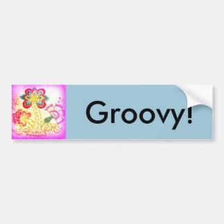 pink palm tree groovy bumper sticker