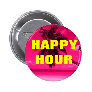 Pink Palm Tree HAPPY HOUR Button