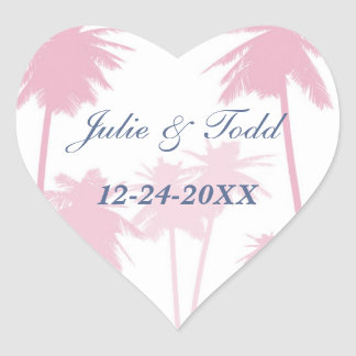 Pink Palm Trees Tropical Wedding Heart Sticker