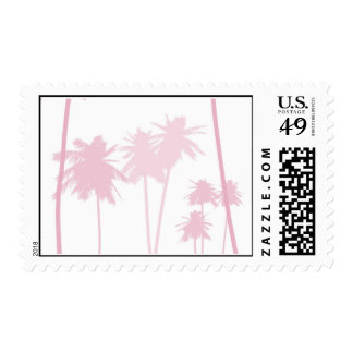 Pink Palm Trees Tropical Wedding Postage