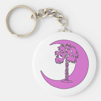 Pink Palmetto & Crescent Carolina Key Chain
