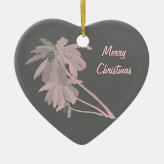 Pink Palms on Gray Ornament
