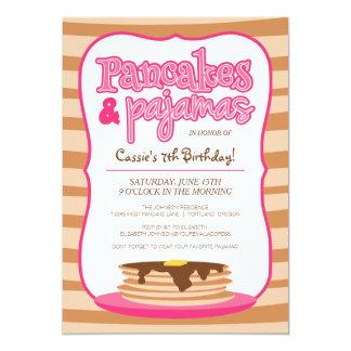 Pink Pancakes and Pajamas Birthday Party Card