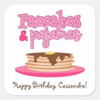 Pink Pancakes and Pajamas Birthday Party Square Sticker