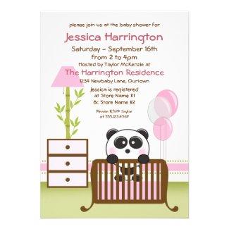 Pink Panda Baby Shower Invitations