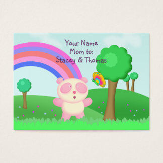 Pink Panda Bear in Colourful Fields Mommy Calling Business Card