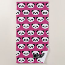 Pink Panda Bear Pattern Kawaii Personalized Kids Beach Towel