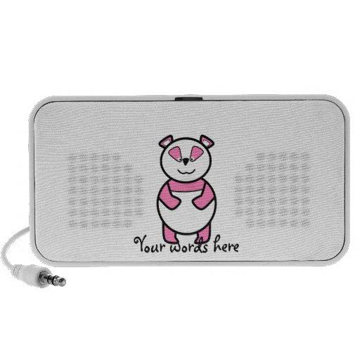 Pink panda bear portable speakers