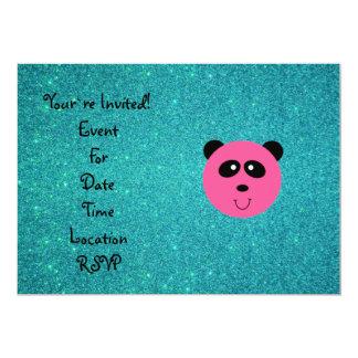 Pink panda face turquoise glitter 5x7 paper invitation card