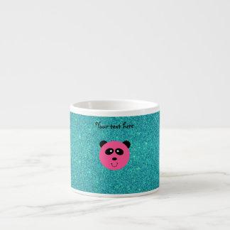 Pink panda face turquoise glitter 6 oz ceramic espresso cup