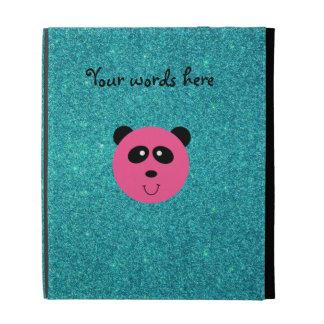 Pink panda face turquoise glitter iPad case