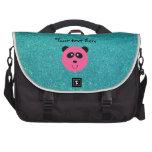 Pink panda face turquoise glitter laptop bags