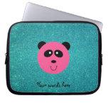 Pink panda face turquoise glitter laptop sleeves