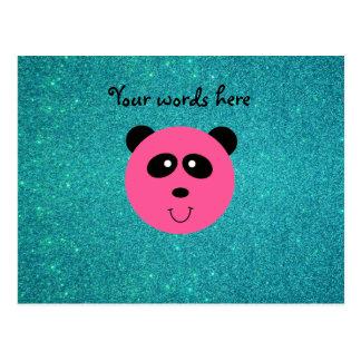 Pink panda face turquoise glitter postcard