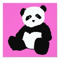 pink panda plush invitation