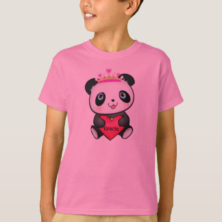 Pink Panda Princess T-shirt for Girls Gift Present