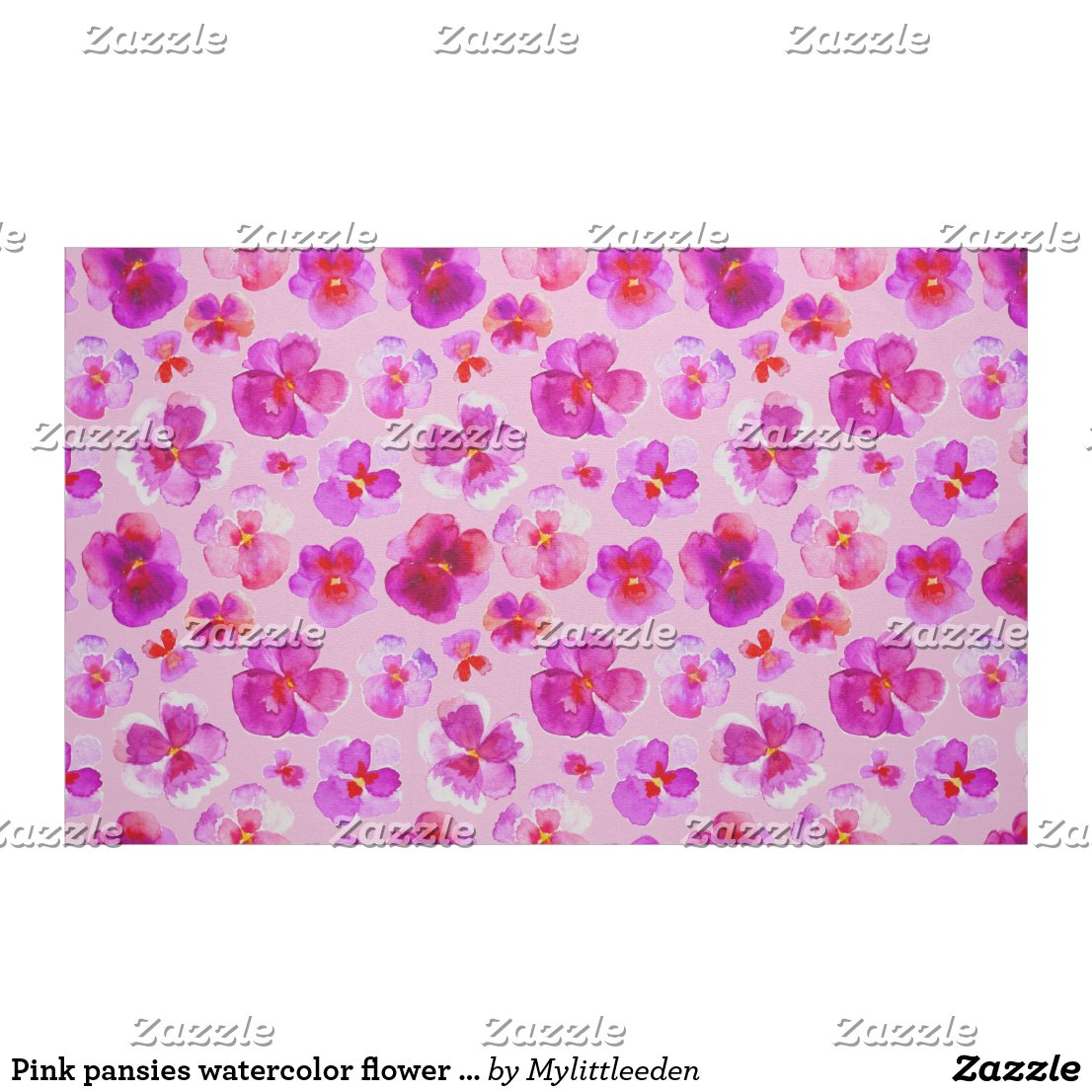 Pink pansies watercolor flower art fabric