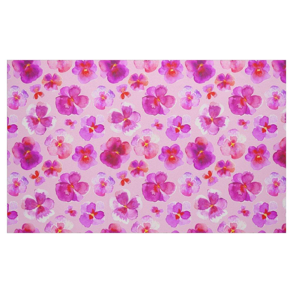 Pink pansies watercolor flower art fabric