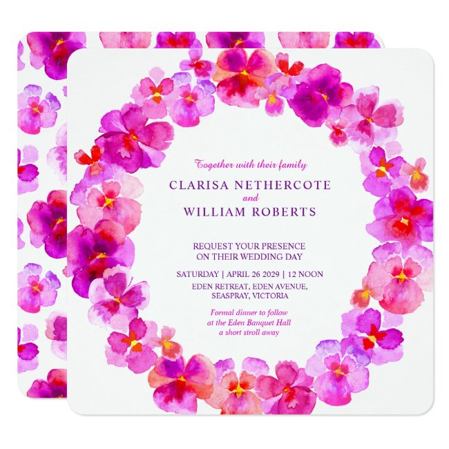 Pink pansies watercolor flower wedding invitations
