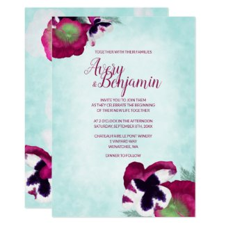 Pink Pansies Wedding Invitation