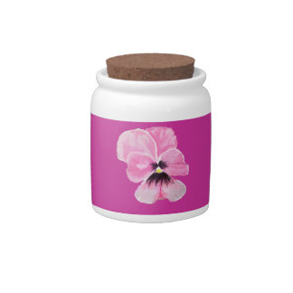 Pink Pansy Candy Jar