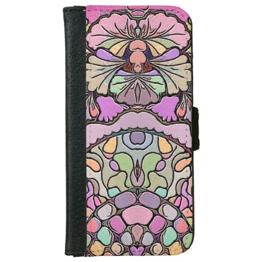Pink pansy flower mosaic iPhone 6/6s wallet case