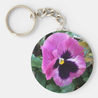 Pink Pansy Keychain