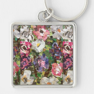 Pink Paper Flower Collage Key chain