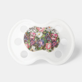 Pink Paper Flower Collage Pacifier