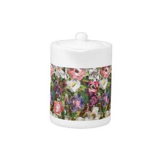 Pink Paper Flower Collage Tea Pot