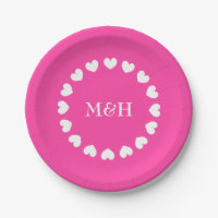 Pink paper party plates with wedding monogram