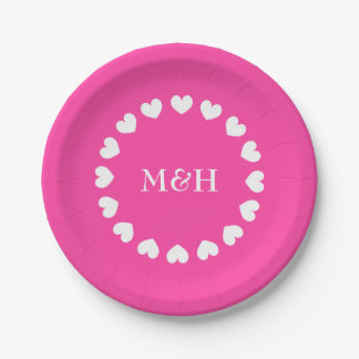 Pink paper party plates with wedding monogram 7 inch paper plate