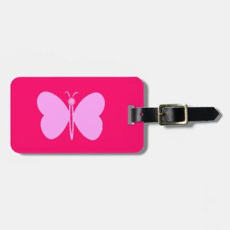 pink papillon luggage tag