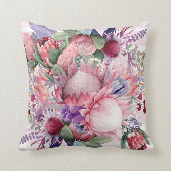 Pink Paradise Garden Watercolor Flowers Throw Pillow