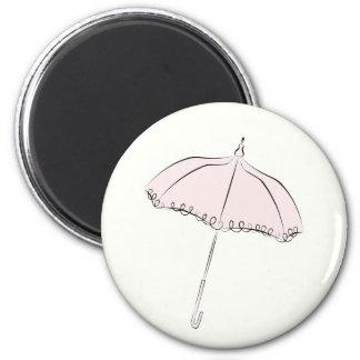 Pink Parasol 2 Inch Round Magnet